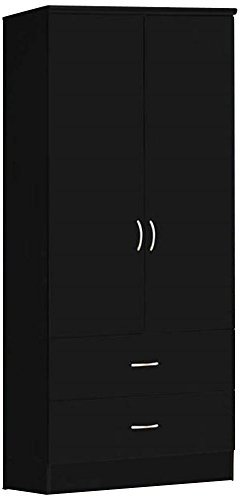 Best Buy! Hodedah Two Door Wardrobe, with Two Drawers, and Hanging Rod, Black
