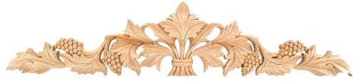 "18"" x 3-3/4"" Maple Hand-carved Ornamental Hardwood Applique Grape Leaf - IWW20-M"
