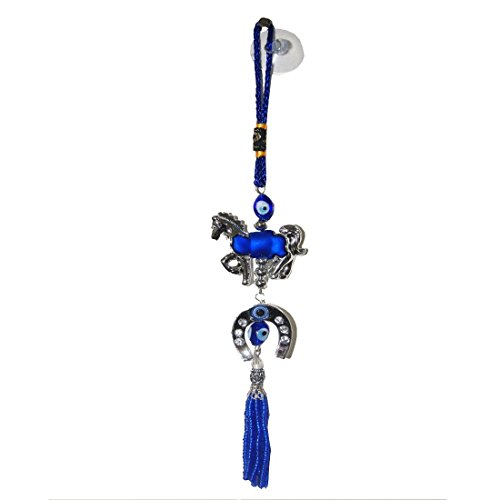 oration Rear View Mirror Hanging Accessories Feng Shui Evil Eye With Blue Horse Shoe ()