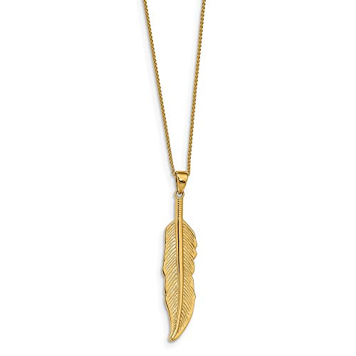 Feather Pendant 14kt Gold Jewelry - Leslie's Real 14kt Yellow Gold Feather Pendant