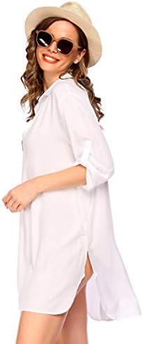Misakia Women's T-Shirt Beach Dress Swimsuit Cover Up Long Roll-up Sleeve Beachwear Bathing Suit