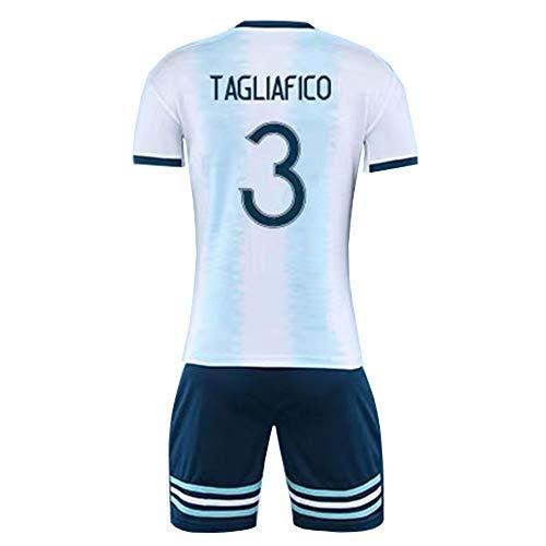 Nicolas Tagliafico #3 La Selección De Fútbol De Argentina Men's Soccer Jersey -Breathable, Quick Drying,White-XXL