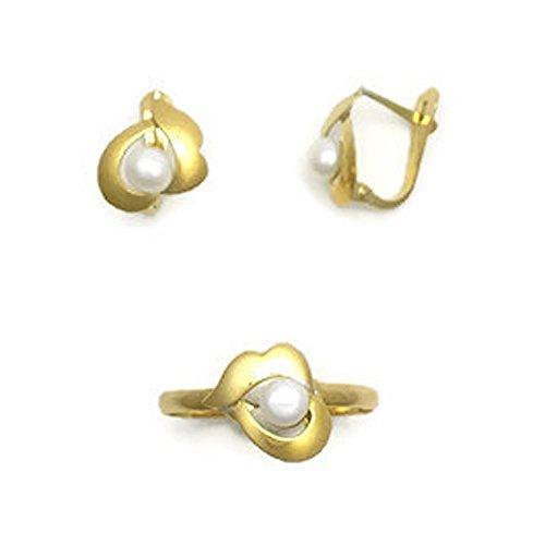 Conjunto de Oro de 18K de Anillo y Pendientes para Niñas Perez Mora P.M-CON-006