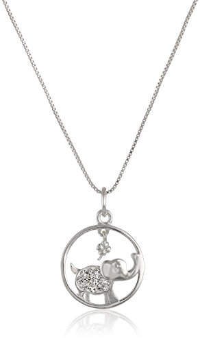 Sterling Silver Circle Crystal Elephant