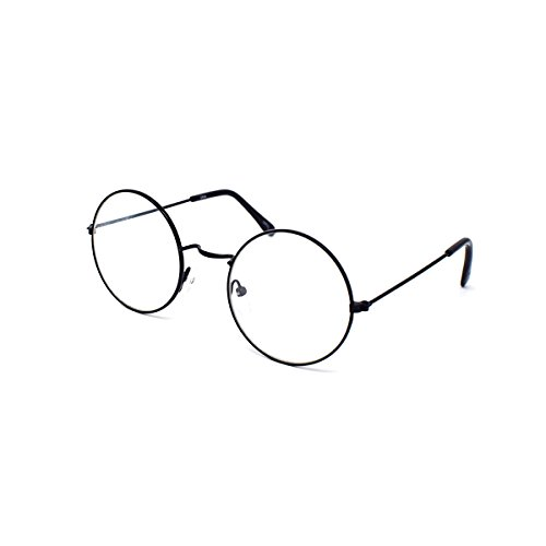 Ultra Adult Black Coloured Premium Wizard Style Metal Framed Clear Lens Costume Glasses Cos Play Glasses Nerd Glasses Geek Glasses Hipster Glasses Retro Glasses Fancy Dress For Men - John Style Hat Lennon