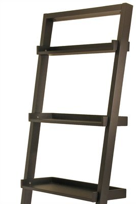 Elegant 75'' Leaning Bookcase, Ladder Design, Ample Storage Space, 5 Tier Shelves for Storage or Display, Made of Wood, Rich Black Finish