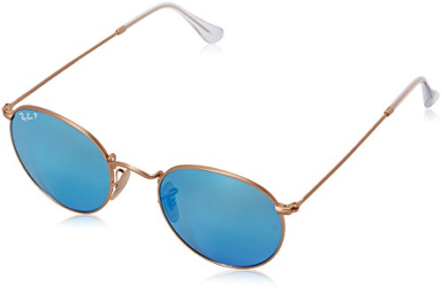 Ray-Ban ROUND METAL - MATTE GOLD Frame BLUE MIRROR POLAR Lenses 50mm - Hut Sunglass Polarized