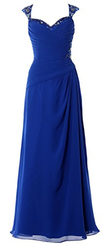 MACloth Royal Open Party Cap Mother Blue Bride of Long Women Dress Sleeves Back Gown Formal r8qgxwFrpO