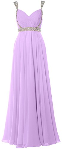 MACloth Women Straps V Neck Chiffon Long Prom Dress 2017 Evening Formal Gown Lavanda