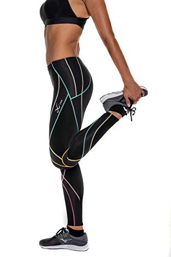 CW-X Women's Endurance Generator Full Length Compression Tights, Black/Rainbow, Small by CW-X (Image #4)