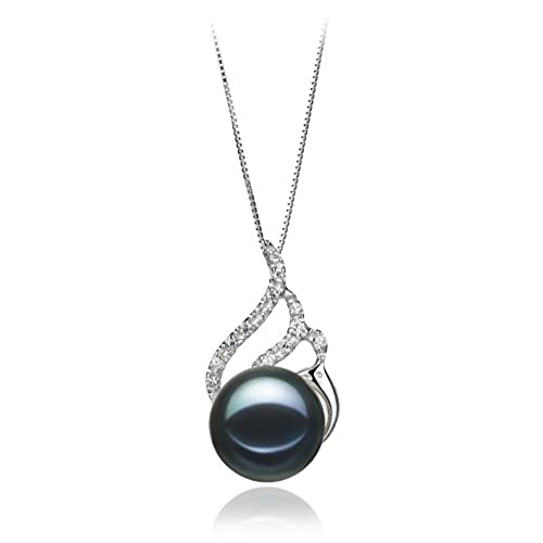 Black pearl pendants amazon pearlsonly tracy black 12 13mm freshwater 925 sterling silver cultured pearl pendant aloadofball Image collections