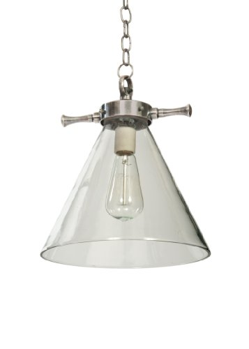 - GO Home Ltd. 13161 Parker 1-Light Pendant, Industrial Steel Finish with Clear Glass Shade