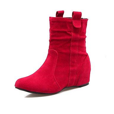 Casual Cordón Cms Negro Vestido Semicuero amp;xuezi Mujer Gll Otoño Cuña Paseo 4'5 Rojo Gris Amarillo Invierno Botas Tacón Black Con Confort 2'5 xS80RqP