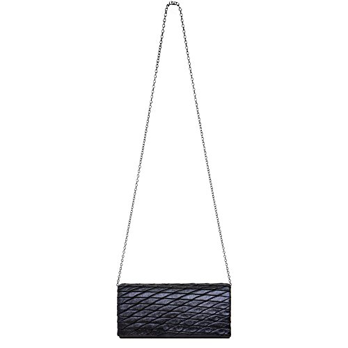 Modern Blue Ladies TA396 CASPAR Glitter with Pattern Dark Evening Lozenge Clutch Bag Elegant n84wq5w7x1