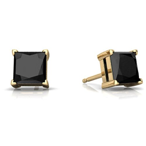 14Kt Yellow Gold Genuine Black Onyx Princess Cut Stud Earrings