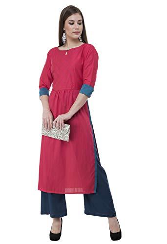 Lagi Designer Women's Polly Silk Straight Kurta Indian Tunic Top Womens Printed Blouse India Clothing Large - Blouse India Clothing