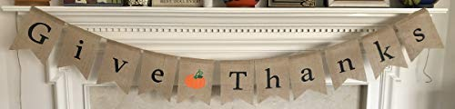 (Give Thanks Burlap Banner - Thanksgiving Day Holiday Home Decor - Decorative Ready to Hang Garland - Assembled with Orange Pumpkin Decoration by Jolly Jon ®)