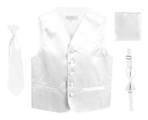 Tuxedo Vest White Satin - Gioberti Boys 4pc Satin Formal Vest Set, White, 12
