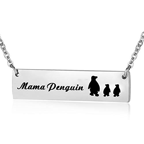 ENSIANTH Mama Penguin Necklace Sweet Family Mama Penguin Jewelry for Mother Wife (Mama Penguin 2 Cubs)