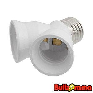 Medium E26 To Medium E26 Dual Socket Adapter Industrial Grade Light Bulb Dual Adapter