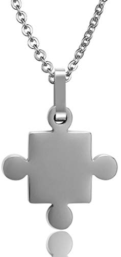 ANAZOZ Stainless Steel Necklaces, Men's Chain Pendant Love Autism Awareness Puzzle Links Silver