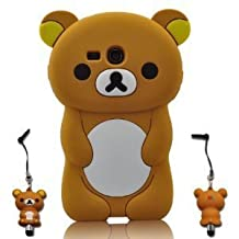 JBG 3D Cartoon Lazy Relax Bear Soft Silicone Case Cover for Samsung Galaxy S3 MINI i8190 (NOT FOR SAMSUNG S3)with 3D Stylus Pen (BROWN)