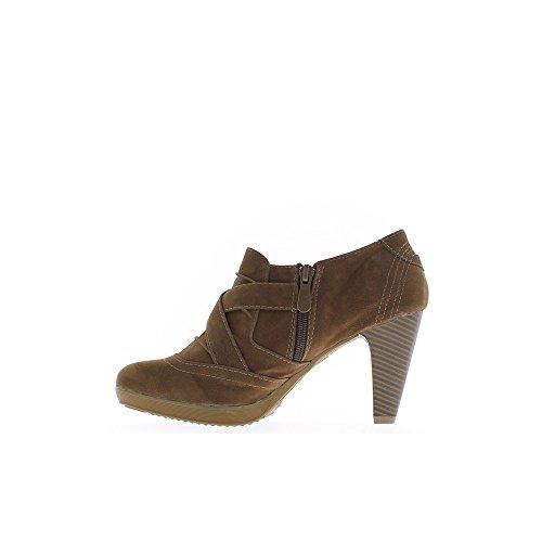 Richelieux donna marrone 8cm tacco e mini piattaforma