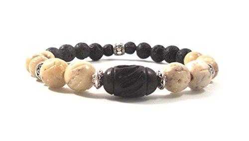 Men's Bracelet Black lava rock, Carved Wood, Carved Soapstone and thai silver plated men's bracelet / Stretchy/ ref # MSB1519