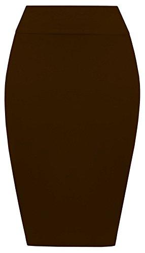Taille Jersey tendue Tube Crayon Femmes Midi Jupe Janisramone Dames Haute Bodycon Plaine Marron Nouveau t xBwY1I