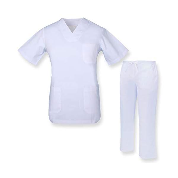 MISEMIYA Casaca Y Pantalón Unisex Uniformes Sanitarios Médicos Enfermera Dentistas Cortos de utilidades de Trabajo Adulto 1