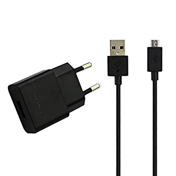 Cargador Original Sony EP-880 + Cable Micro-USB para Xperia Z, Z2, Z3, Z5, X, Compact, E4, E5, M2, M4, M5, Negro, Bulk