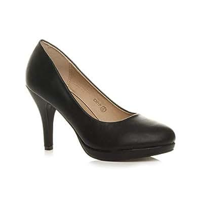 Ajvani Women's Mid High Heel Platform Work Evening Court Shoes Pumps Size 5 36 Black Matte