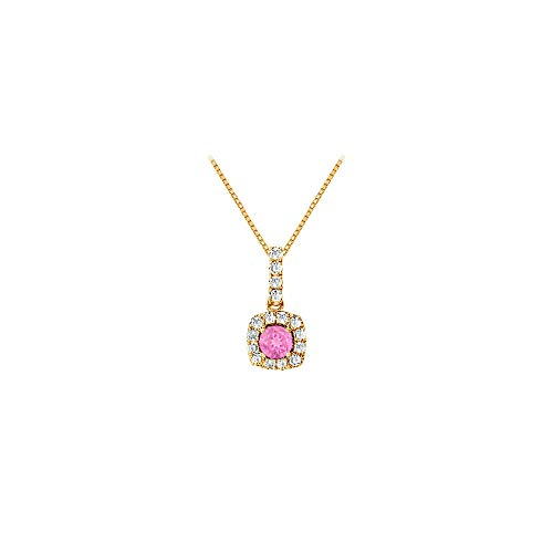 (Fancy Square Created Pink Sapphire and Cubic Zirconia Halo Pendant in 14K Yellow Gold)