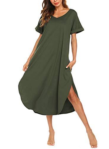 - AVIIER Nightgown Womens Sleepshirts Cotton Nightshirt Long Sleepwear Pajamas (Green,S)