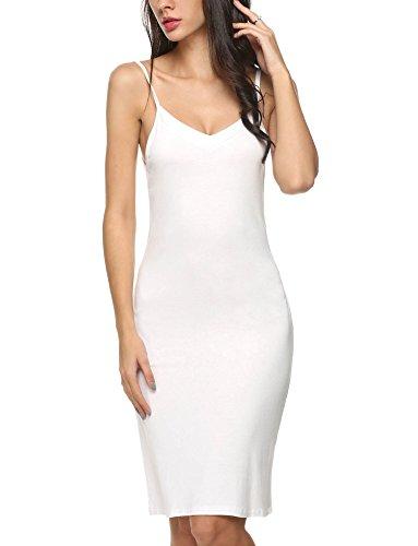 Imposes Women's Chemise Nightgown Sleepwear Sexy Lounge Dress Spin Slip XL White