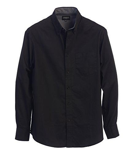 Black Cotton Shirt Dress (Gioberti Mens Long Sleeve Casual Twill Contrast Shirt, Black, Large)