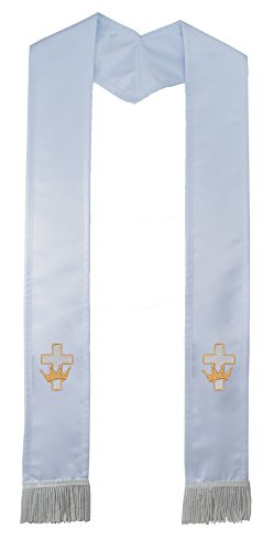 Deluxe White w/ White Border and Cream Fringe Satin Clergy Stole with Embroidered Cross with Crown (Cross Stole Overlay)