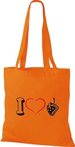 Shirtstown Bolso de tela Frutas I love Fresa Naranja