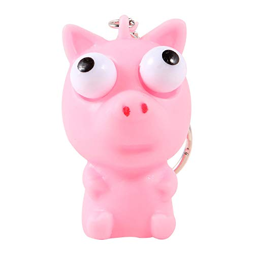 Pausseo Pop Out Keychain Stress Reliever Tools Cartoon Squeeze Lovely Animal Squeeze Vent Toys Gift Toy Gift Pendant Handbag Backpack Crossbody Charm Elegant Key Ring Eye-catching Doll (Pink)