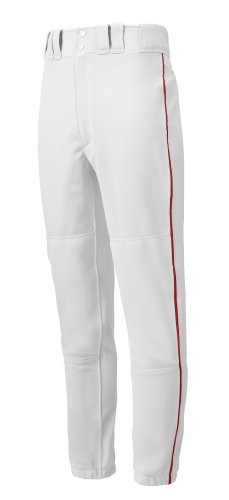 Mizuno Youth Premier Piped Baseball Pants, White-Red, Youth Medium