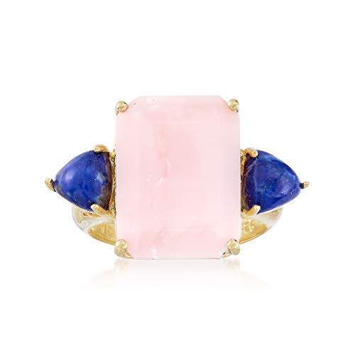 (Ross-Simons Pink Opal and Lapis Ring in 18kt Yellow Gold Over Sterling)