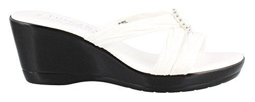 Easy Street Womens Tuscany by, Cristallo Mid Heel Sandals White