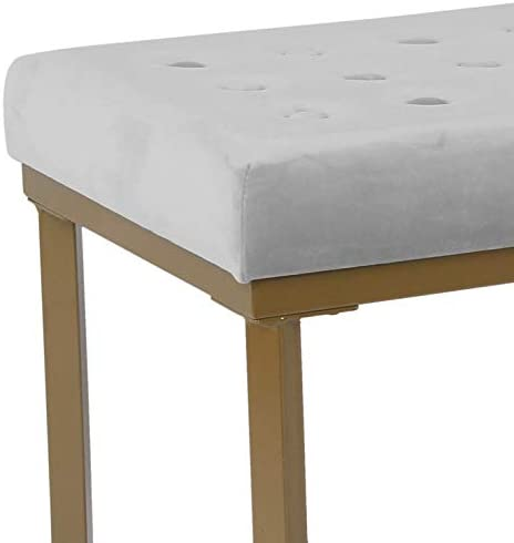 Benjara Metal Framed Ottoman with Button Tufted Velvet Upholstered Seat, Light Gray and Gold