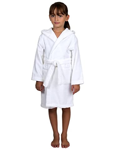 TowelSelections Little Girls Robe, Kids Hooded Cotton Terry Bathrobe Cover-up Size 4 White - White Terry Hooded Cover Up