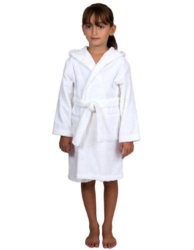TowelSelections Big Girls Robe, Kids Hooded Cotton Terry Bathrobe Cover-up Size 8 White -