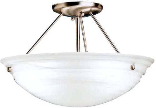 Kichler Brass Flush Mount Lighting - Kichler 3122NIA Cove Molding Top Glass Semi-Flush 3-Light, Brushed Nickel