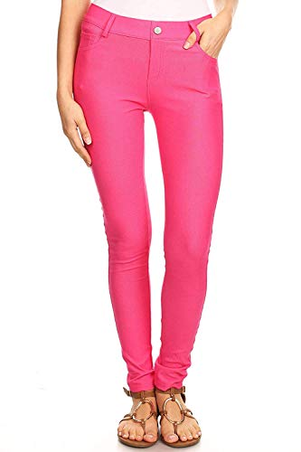 (ICONOFLASH Women's Plus Size Fuchsia Jeggings with Pockets 3XL - Pull On Skinny Stretch Colored Jean Leggings Size 3X-Large)