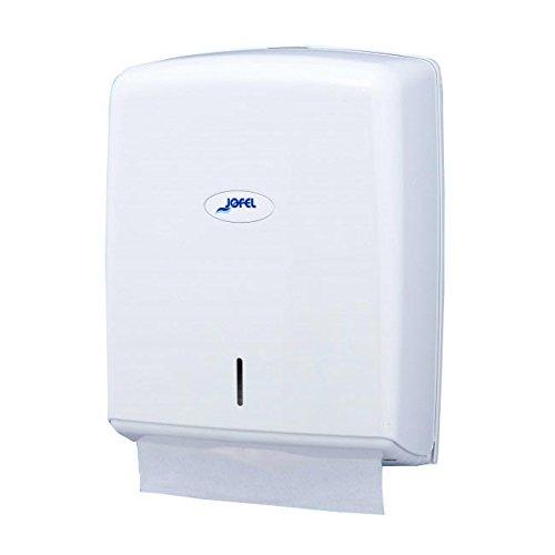 Jofel AH37000 - Dispensador de toallas formato zig-zag, admite 600 toallas, color blanco