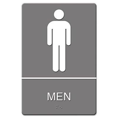 Headline Sign ADA Sign, Men Restroom Symbol w/Tactile Graphic, Molded Plastic, 6 x 9, Gray