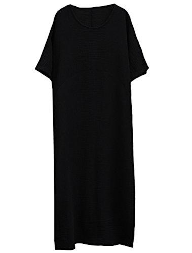 2f8981e65318 MatchLife Damen Beiläufige Lose Kleid Kurzarm Vintage Kaftan Baumwolle Boho  Maxi Kleid Schwarz xgkTb